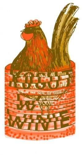 gej duży kogut i jaja